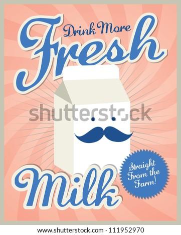 vintage milk poster template vector/illustration - stock vector