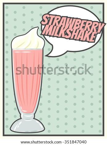 vintage milkshake poster, illustration in vector format - stock vector