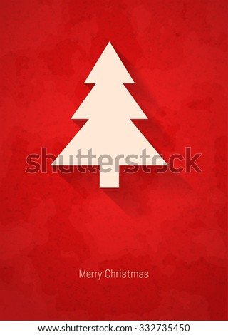 Vintage minimalistic Merry christmas card with christmas tree and long shadow, vector illustration. - stock vector