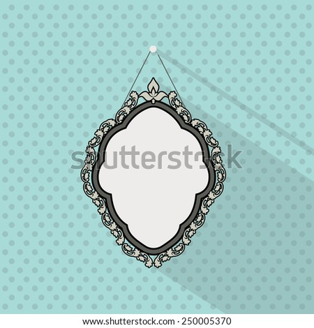 Vintage mirror frame. Hanging on the wall. Rich old frame. Vintage wallpaper with dots - stock vector