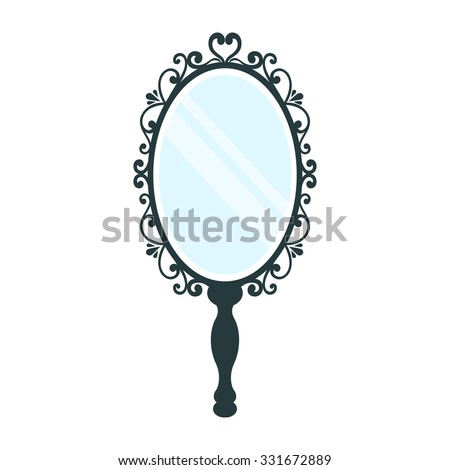 vintage hand mirror clipart. vintage mirror with a handle on white background hand clipart