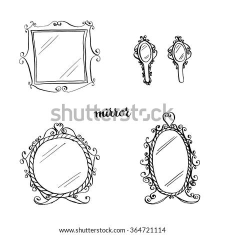 Vintage Mirrors Doodle Style Furniture Interior Design Elements Hand Drawn Ink Sketch