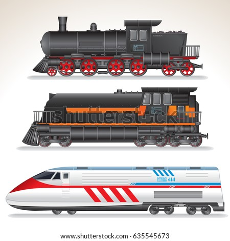 Vintage, Modern and Futuristic Passenger Train Locomotives. Vector Collection