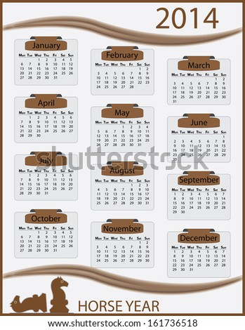 Vintage 2014 monday start calendar template. Easy to edit calender illustration with horse figures. Abstract isolated calendar vector design.