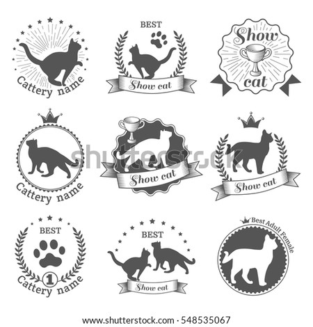 Vintage monochrome emblems, labels. Silhouette cats icons. Winner cup and medal symbol.