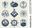 vintage monochrome nautical...