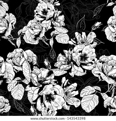 Vintage monochrome roses pattern - stock vector