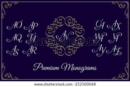 Vintage monogram design template with combinations of capital letters AN AO AP  AQ AR AS AT AU AV AW AX AY AZ. Vector illustration. - stock vector