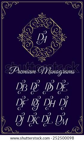 Vintage monogram design template with combinations of capital letters DA DB DC DD DE DF DG DH DI DJ DK DL DM. Vector illustration. - stock vector