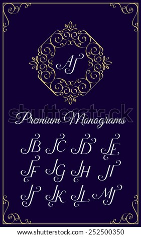 Vintage monogram design template with combinations of capital letters JA JB JC JD JE JF JG JH JI JJ JK JL JM. Vector illustration. - stock vector