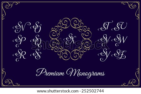 Vintage monogram design template with combinations of capital letters SN SO SP SQ SR SS ST SU SV SW SX SY SZ. Vector illustration. - stock vector