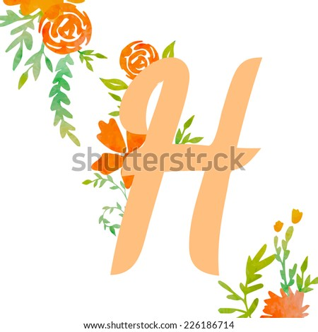 Vintage monogram H with watercolor flowers and leaves. Part of natural romantic alphabet.  - stock vector