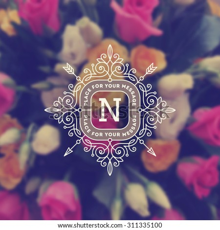 Vintage monogram logo template with flourishes calligraphic elegant ornament elements on a blurred flowers background. Identity design with letter for cafe, shop, store, restaurant, boutique, and etc - stock vector