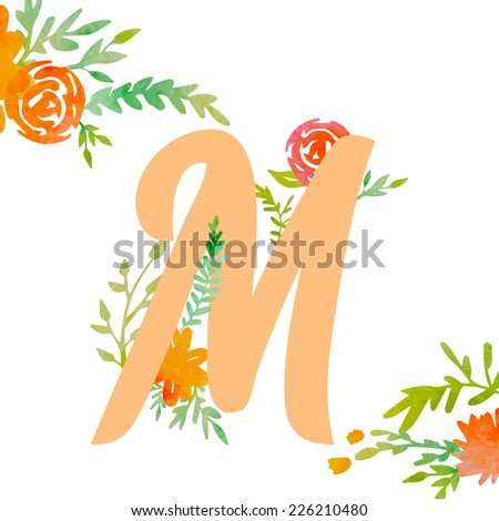 Vintage monogram M with decorative watercolor floral elements, roses and natural frame. Hand drawn vector alphabet part.  - stock vector