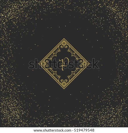 Vintage monogram on black background. Vector emblem for calligraphic luxury logos and retro ornamental design.