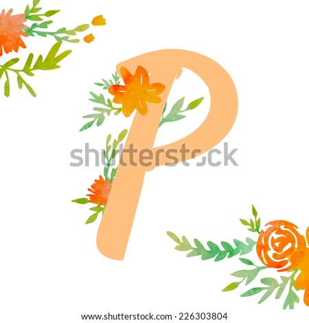 Vintage monogram P with decorative watercolor floral elements, roses and natural frame. Hand drawn vector alphabet part.  - stock vector