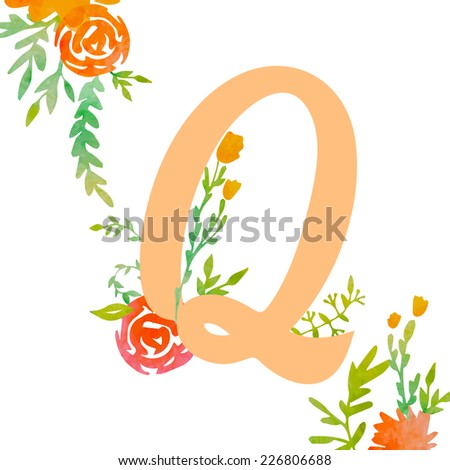 Vintage monogram Q with decorative watercolor floral elements, roses and natural frame. Hand drawn vector alphabet part.  - stock vector