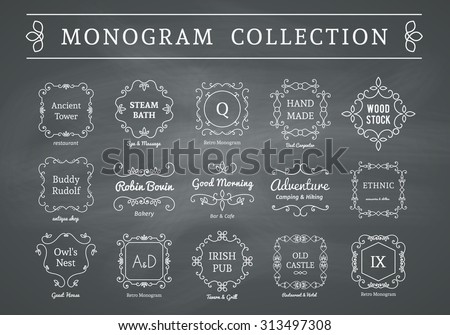 Vintage monogram set on chalkboard background. Vector emblems for calligraphic luxury logos and retro ornamental design. - stock vector