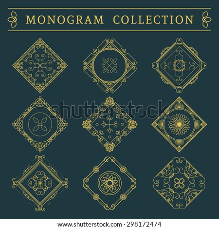 Vintage monogram set. Vector emblems for calligraphic luxury logos and retro ornamental design. - stock vector