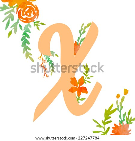 Vintage monogram X with decorative watercolor floral elements, roses and natural frame. Hand drawn vector alphabet part.  - stock vector