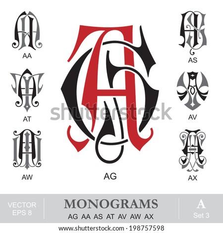 Vintage Monograms AG AA AS AT AV AW AX - stock vector