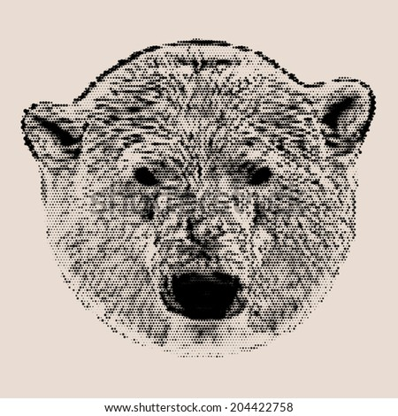 Vintage mosaic head portrait of a polar bear female. The most dangerous animal of the Arctic region. The mask of a wild beauty. Vector illustration. - stock vector