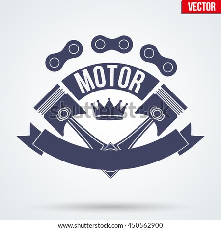 Vintage Motor Club Signs and Label with chain and pistons. Emblem of bikers or drivers and riders. Editable Vector illustration Isolated on background. - stock vector