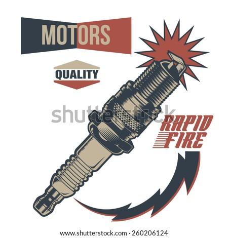 Vintage Motor Spark Plug Fuel - stock vector