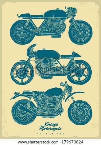 vintage motorbike silhouette - stock vector