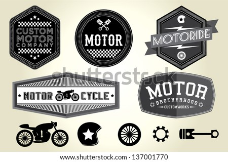 Vintage Motorcycle Badge - stock vector