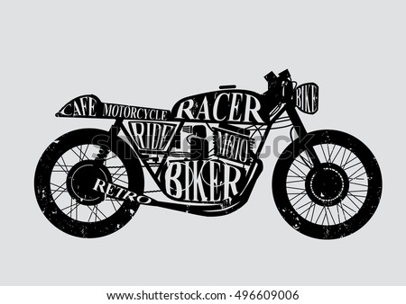 vintage motorcycle cafe racer text on stock vector royalty free