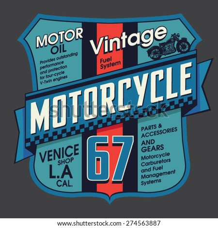 Vintage motorcycle embroidery typography, t-shirt graphics, vectors