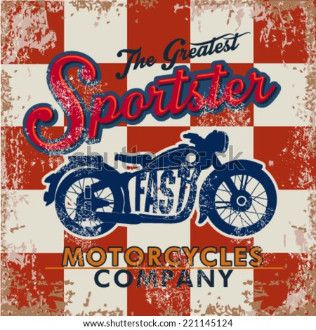 Vintage motorcycle for printing. Vector old school race poster.retro race car or motorbike vector print set,race posters.real road race posters - stock vector