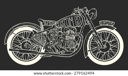 Vintage Motorcycle hand drawn vector - stock vector