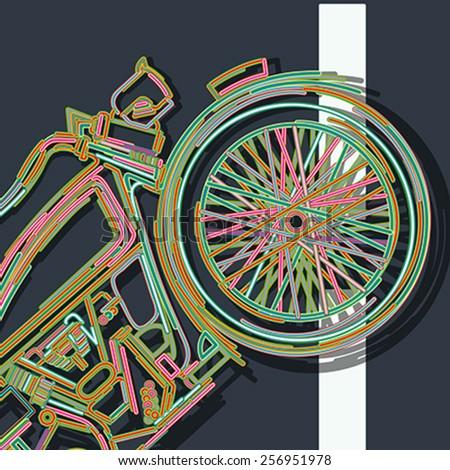 Vintage motorcycle icon - stock vector