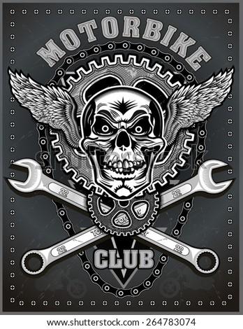 vintage motorcycle label - stock vector