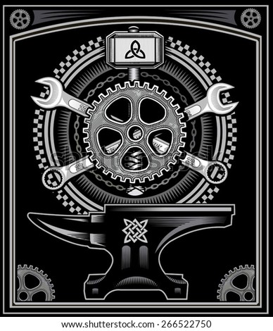 Vintage motorcycle label Thor's Hammer  - stock vector