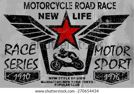 vintage motorcycle labels, badges and design elements - stock vector