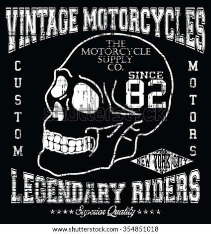 Vintage Motorcycle - New York City  Handcrafted- Superior Quality vector print and varsity. For t-shirt or other uses in vector.T shirt graphic