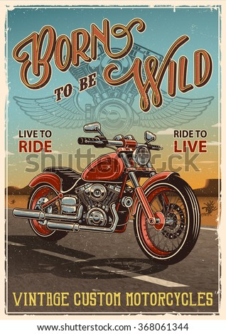 Vintage motorcycle poster. Motorcycle on the road with desert background, text and grunge texture. - stock vector