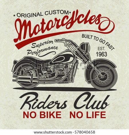 Vintage motorcycle poster tshirt print stock vector for Vintage t shirt printing