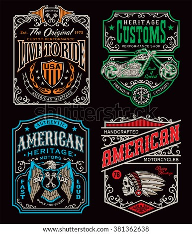 Vintage motorcycle t-shirt graphic set - stock vector