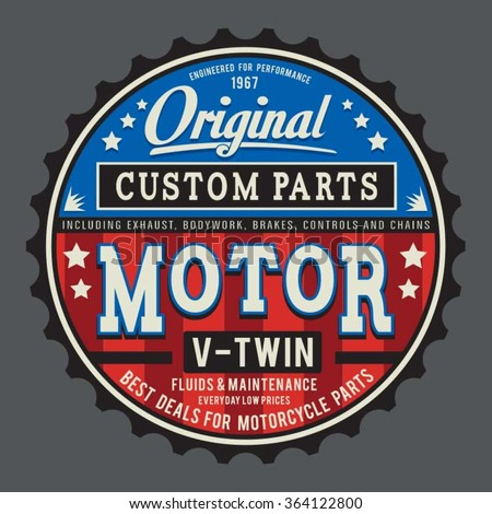 Vintage motorcycle typography, t-shirt graphics, vectors - stock vector