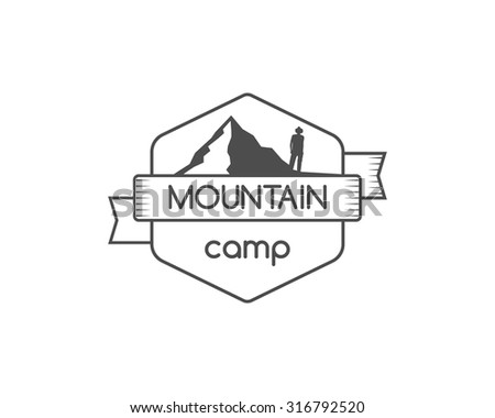 Vintage mountain camping badge, outdoor logo, emblem and label. Hiking concept, monochrome design. Best for travel sites, adventure magazines. Easy to change color. Vector illustration - stock vector
