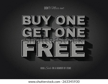 Vintage movie or retro cinema text effect BOGO, buy one get one free ad - stock vector