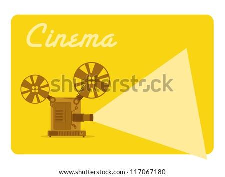 vintage movie projector, old cinema - stock vector