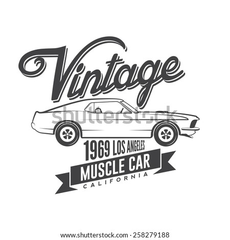 Vintage muscle car emblem  - stock vector