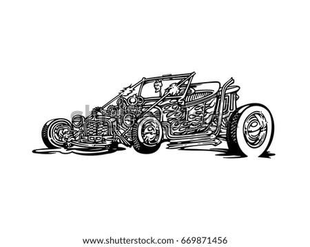 Vintage Muscle Cars Cartoon Sketch Vector Vectores En Stock ...