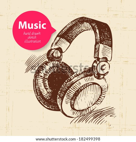 Vintage music background. Hand drawn sketch illustration - stock vector