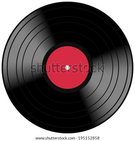 Vintage music record concept with a red vinyl lp album disc and light reflection. Vector EPS 10 illustration isolated on white background. - stock vector